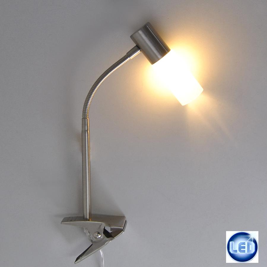 klemmleuchte klemmlampe edelstahl tischlampe schreibtischleuchte 10w sparlampe ebay. Black Bedroom Furniture Sets. Home Design Ideas