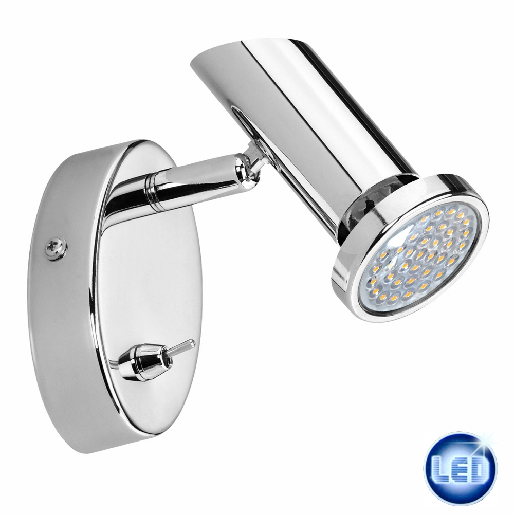 Led Wall Lights With Switch : LED Wall Light Spot With Switch 2,3W Led Spotlight Wall lamp Chrome New eBay