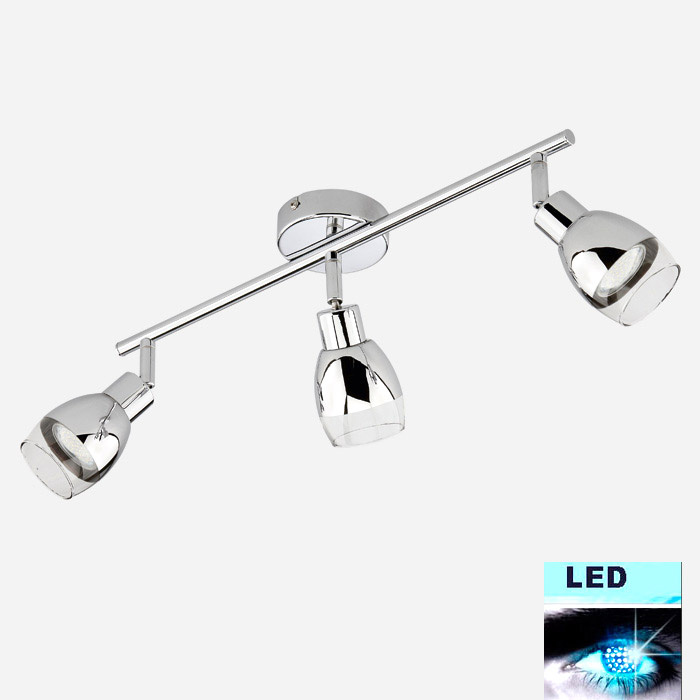 Led deckenleuchte helle power led 6 9w chrom glas for Deckenlampe led strahler