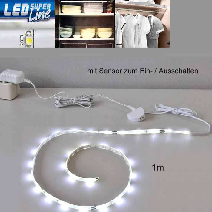 led lichtleiste sensor 1m k che schrank innen leuchte. Black Bedroom Furniture Sets. Home Design Ideas