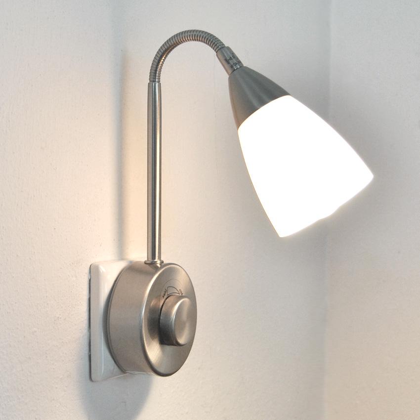 steckdosenlampe flexarm dimmbar steckerlampe mit dimmer steckerleuchte led m gl ebay. Black Bedroom Furniture Sets. Home Design Ideas