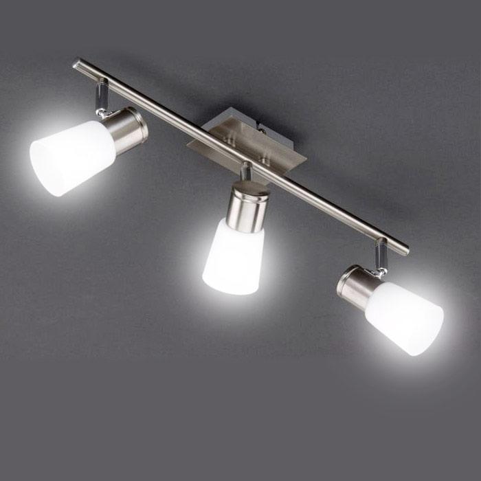 deckenleuchte edelstahl glas 47cm deckenlampe strahler einstellbar 9w sparlampen ebay. Black Bedroom Furniture Sets. Home Design Ideas