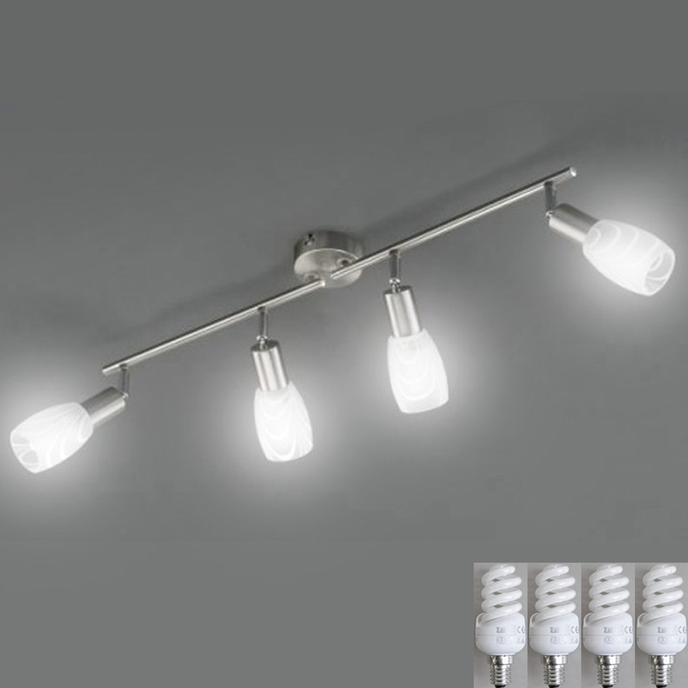 lampe de plafond plafond lampe energiespar 4x 9w sparlampen led possible spots ebay. Black Bedroom Furniture Sets. Home Design Ideas