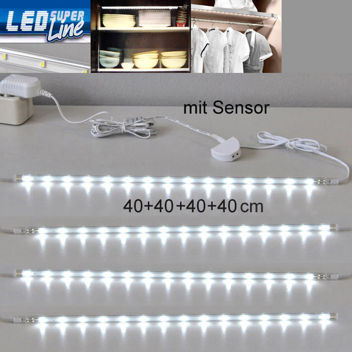 led lichtleiste sensor 4x40cm k che schrank innen leuchte unterbauleuchte leiste ebay. Black Bedroom Furniture Sets. Home Design Ideas