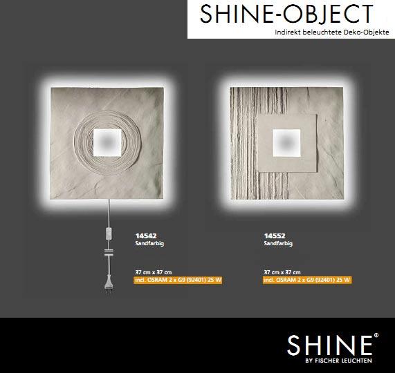 beleuchtetes kunstwerk fischer leuchten 14542 shine sandfarben. Black Bedroom Furniture Sets. Home Design Ideas