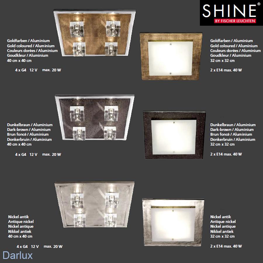 deckenleuchte deckenlampe nickel antik fischer leuchten shine led m glich neu ebay. Black Bedroom Furniture Sets. Home Design Ideas
