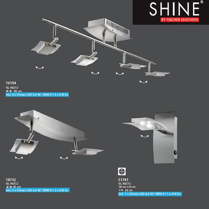 led deckenleuchte 16194 fischer leuchten shine mz. Black Bedroom Furniture Sets. Home Design Ideas
