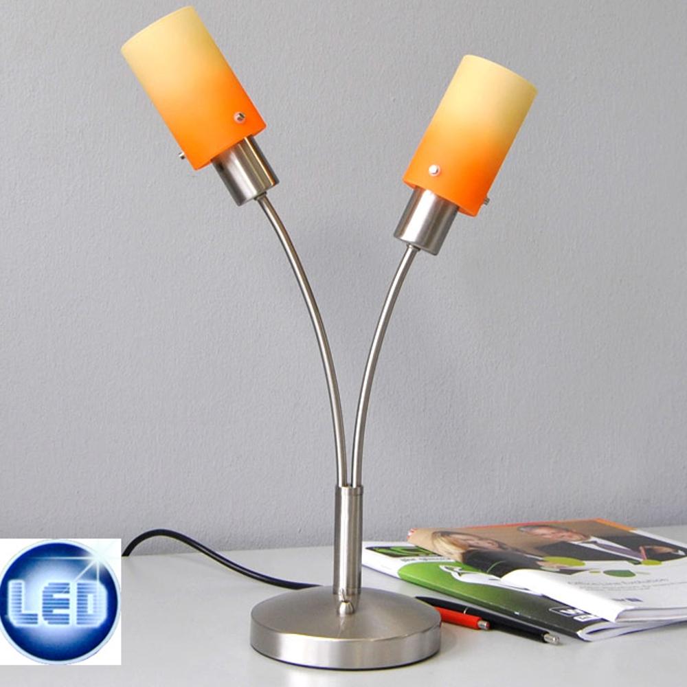 Lampe de table type led fischer 2x7w chevet orange jaune for Interrupteur lampe de chevet