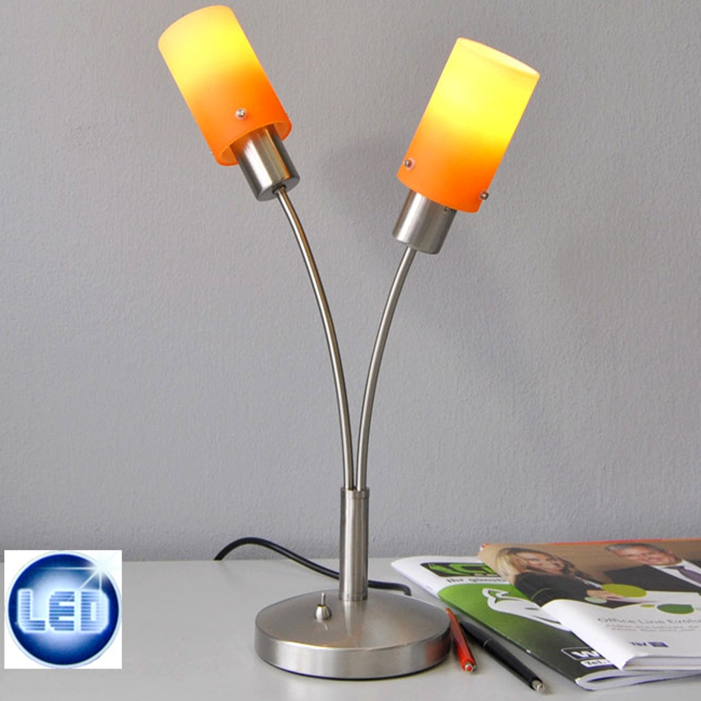 lampe de table type led fischer 2x7w chevet orange jaune interrupteur ebay. Black Bedroom Furniture Sets. Home Design Ideas