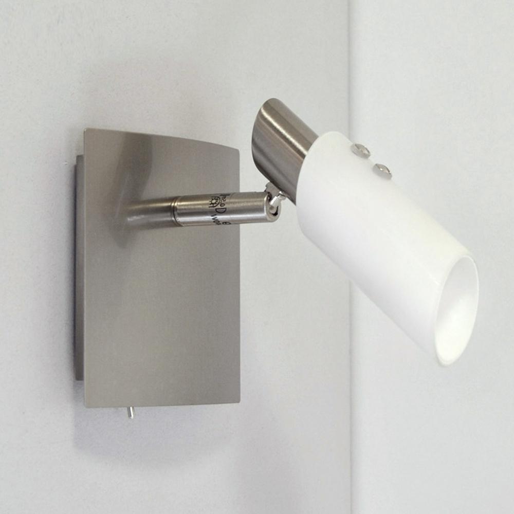 wandleuchte deckenlampe edelstahl glas wei 11x11cm wandlampe leselampe schalter. Black Bedroom Furniture Sets. Home Design Ideas