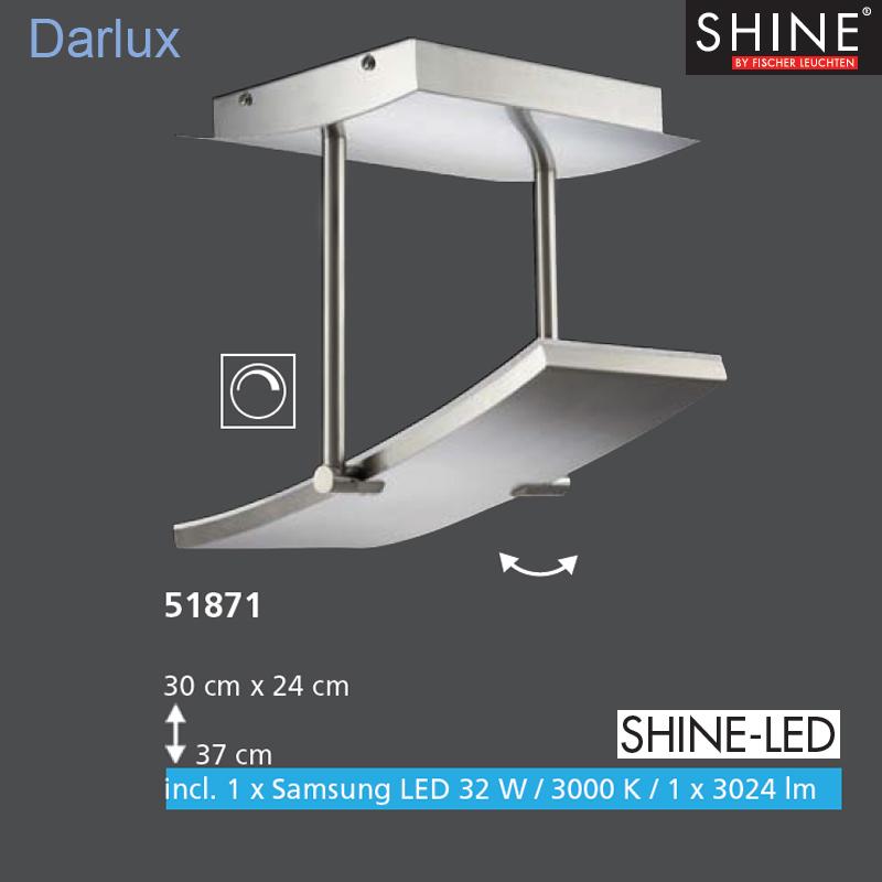 led deckenleuchte deckenlampe 51871 fischer leuchten shine led panel dimmbar ebay. Black Bedroom Furniture Sets. Home Design Ideas