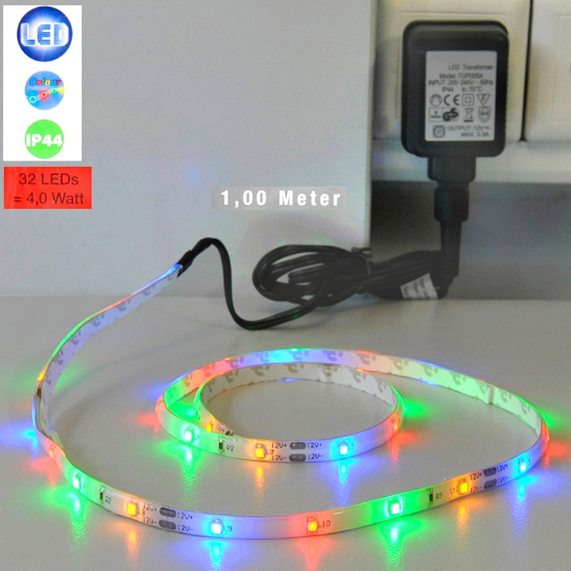 led lichtband farbig band ip44 strips streifen leuchtband blau rot gr n gelb ebay. Black Bedroom Furniture Sets. Home Design Ideas