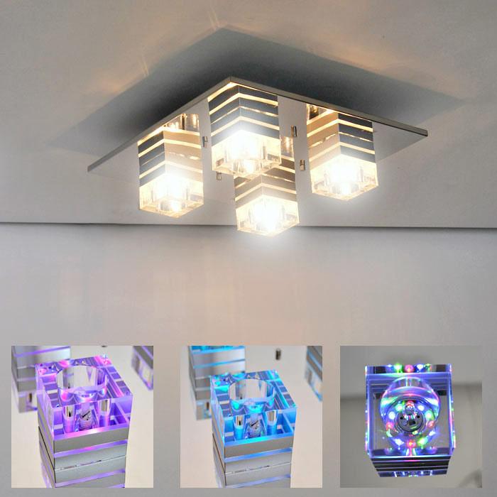 chrom glas deckenleuchte led farbwechsler deckenlampe ebay. Black Bedroom Furniture Sets. Home Design Ideas