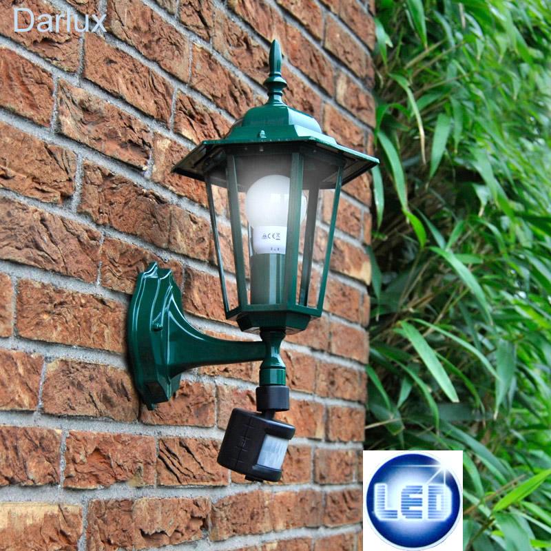 Neu Außenleuchte LED Wandleuchte Bewegungsmelder grün Antik Außen Wand  FW54