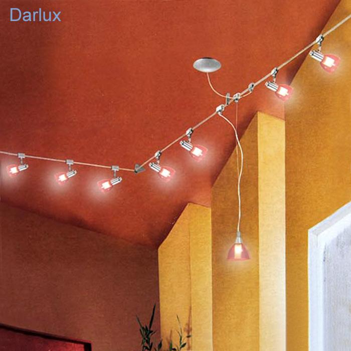 Seilsystem 7m Deckenleuchte 7 Lampen Pendel Halogen Deckenlampe LED Geeign