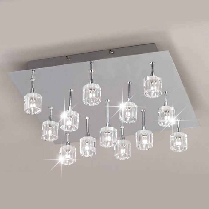 design deckenleuchte 40x40cm chrom kristall deckenlampen led m gl l ster ebay. Black Bedroom Furniture Sets. Home Design Ideas