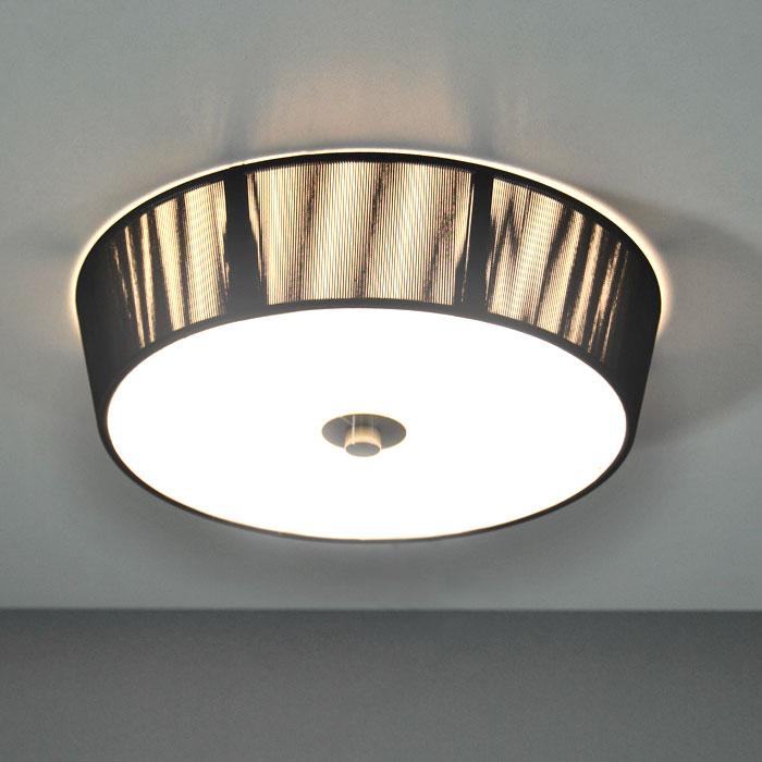 deckenleuchte stoff schwarz deckenlampen 31 5cm 22w sparlampe wandleuchte ebay. Black Bedroom Furniture Sets. Home Design Ideas