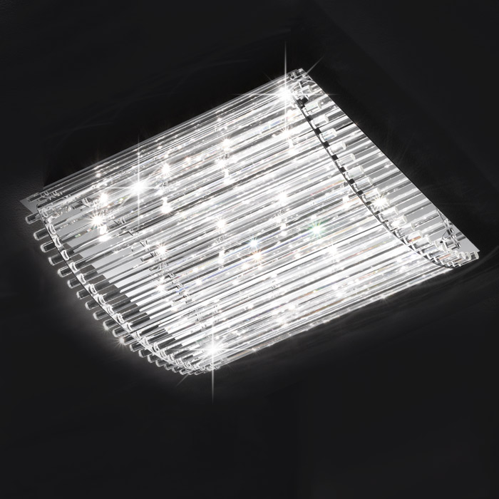 deckenleuchte design deckenlampe 50x50cm honsel leuchten 28382 marco chrom glas ebay. Black Bedroom Furniture Sets. Home Design Ideas