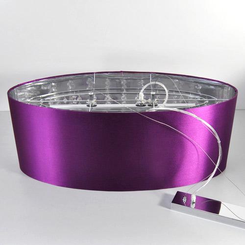 pendelleuchte oval lampenschirm lila stoff h ngeleuchte deckenleuchte led m gl. Black Bedroom Furniture Sets. Home Design Ideas