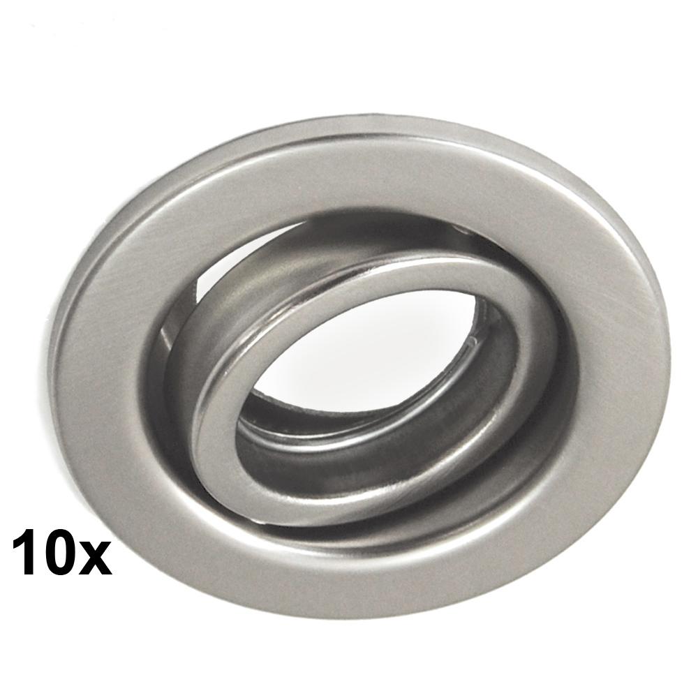 10-Mini Einbauleuchten Einbaurahmen EBL Nickel matt Ø 7,8cm Ohne LM