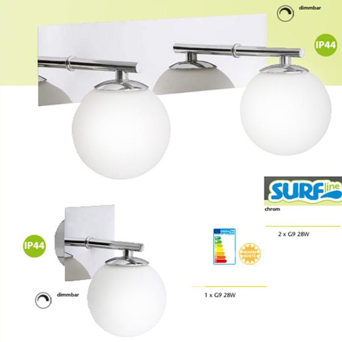 Chrome verre salle de bain miroir lumineux lampe murale for Lampe murale salle de bain
