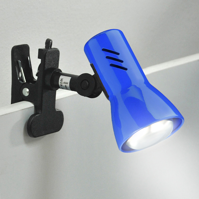 klemmleuchte strahler leselampe klemmlampe metall blau led m glich regallampe ebay. Black Bedroom Furniture Sets. Home Design Ideas