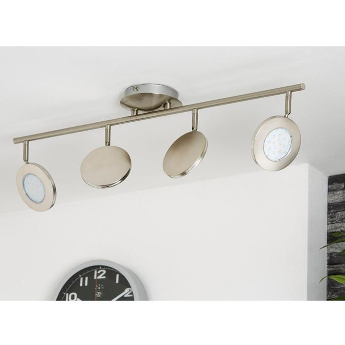 Plafonnier led mat nickel 4x4 5w plafonnier ip20 lampe for Lampe plafond salle de bain