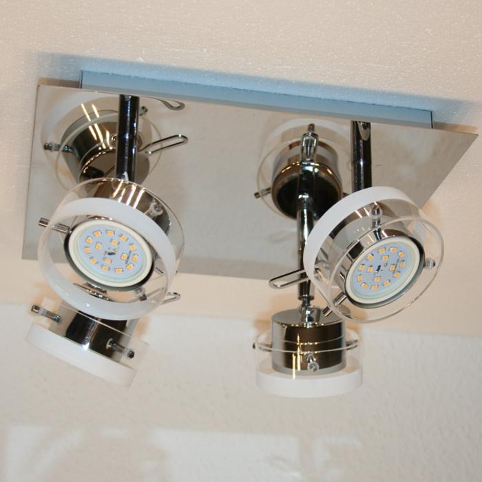 Deckenleuchte LED chrom 4x5W LED Deckenlampe Deckensystem NEU  eBay