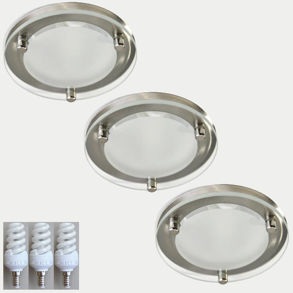 3-Set E14 Einbauleuchten Ø10cm Stahl 6406-392 9W Sparlampe