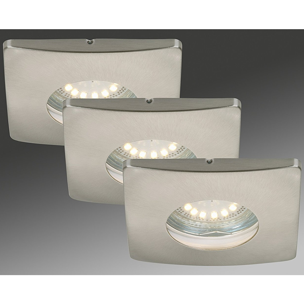 LED Einbauleuchten 3-er Set, 7239-032 Briloner, IP44, GU10 LED Nickel