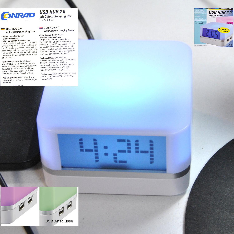 775207 Conrad USB HUB 2.0 Uhr mit 4 USB Anschlüsse Farbwechsel