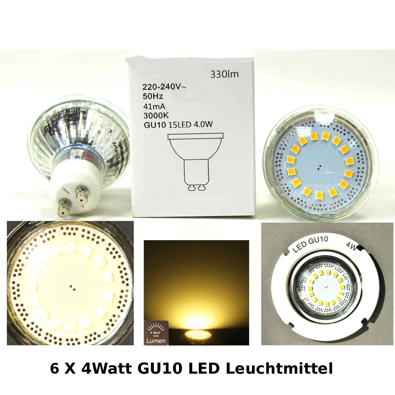 LED Energiesparlampe 6x LED Leuchtmittel Darlux 61337085 4W GU10