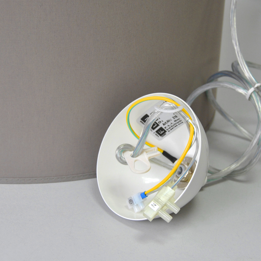 pendelleuchte design h ngeleuchte fli fischer leuchten m6 grau braun stoffschirm ebay. Black Bedroom Furniture Sets. Home Design Ideas