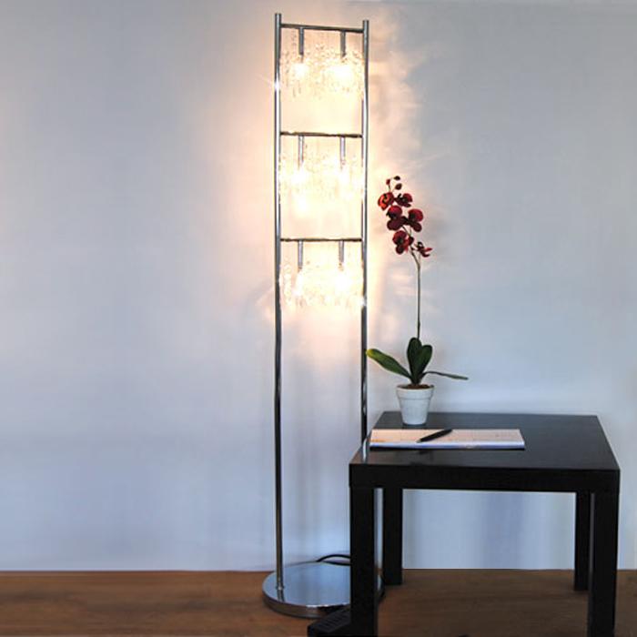 Stehlampe dimmbar echtglaskristallen luxus stehleuchte kristall chrom dimmer neu ebay - Stehlampe mit kristallen ...