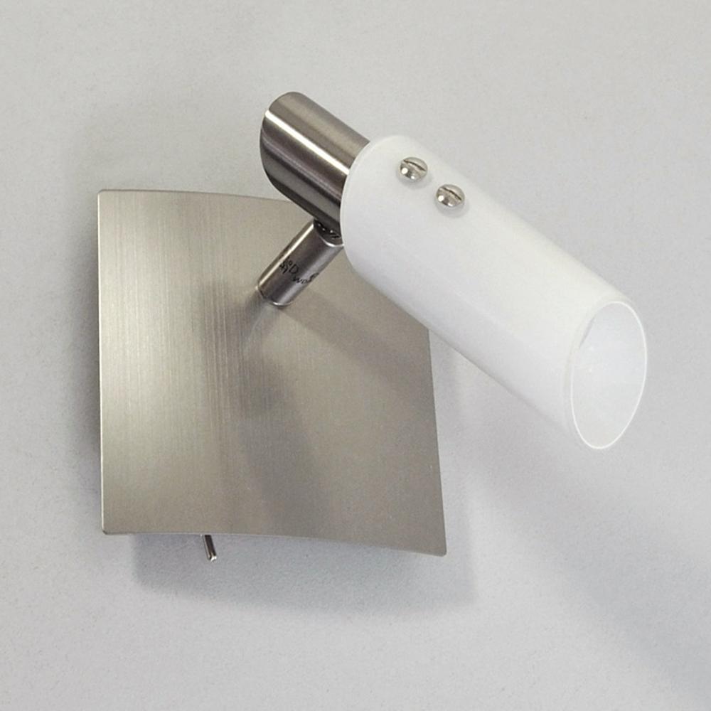 wandleuchte deckenlampe edelstahl glas wei 11x11cm wandlampe leselampe schalter ebay. Black Bedroom Furniture Sets. Home Design Ideas