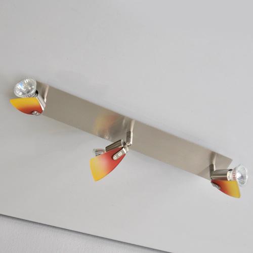 deckenleuchte halogen 47cm edelstahl rot gelb deckenlampe led m glich spots ebay. Black Bedroom Furniture Sets. Home Design Ideas