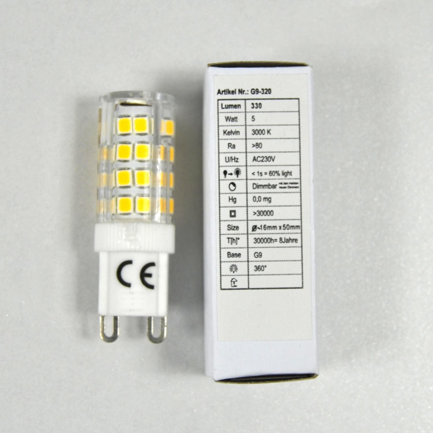 LED G9 5W Sparlampe Energiesparlampe 33-SMD LED´s 5 W warmweiß 50mm