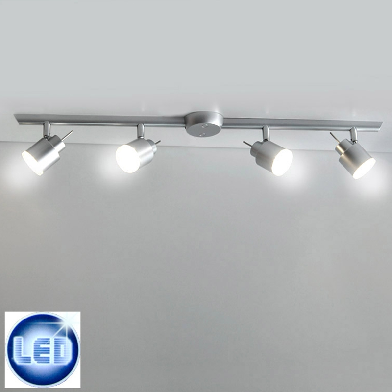 led deckenleuchte 4x4w led strahler deckenlampe spot silber deckenleuchten 81cm ebay. Black Bedroom Furniture Sets. Home Design Ideas