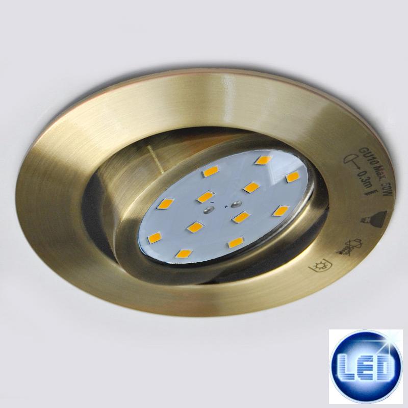 1x LED Einbauleuchte 48570415 Eglo Altmessing mit 3W GU10 LED
