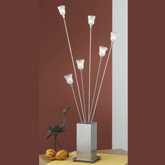 lampe de table verre blanc chevet nuit 6 flammig led possible acier ebay. Black Bedroom Furniture Sets. Home Design Ideas