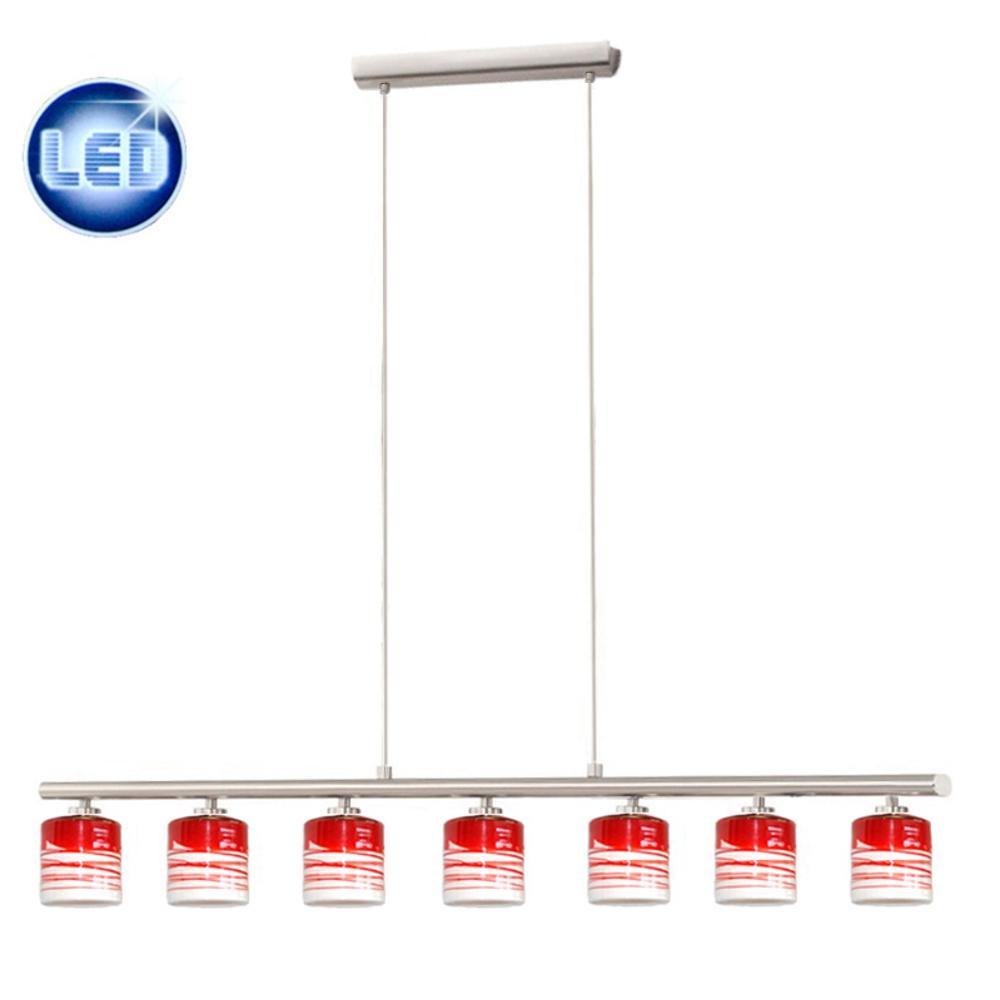 led 7x5w h ngeleuchte h ngelampe pendelleuchte glas wei rot esstisch b ro neu ebay. Black Bedroom Furniture Sets. Home Design Ideas