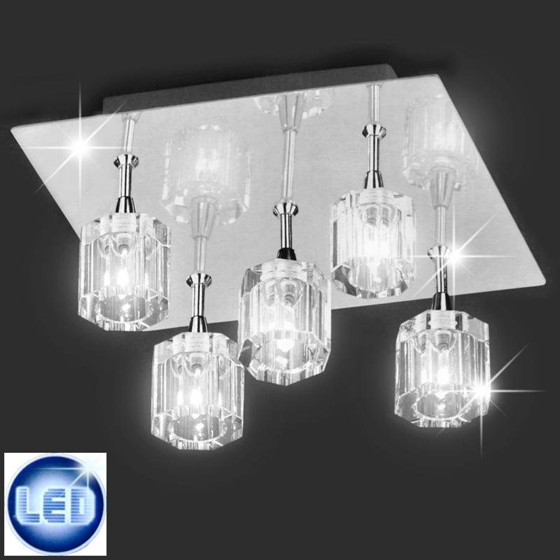 led deckenleuchte chrom glas klar 5x2w led deckenlampe deckenleuchten 21 5cm ebay. Black Bedroom Furniture Sets. Home Design Ideas
