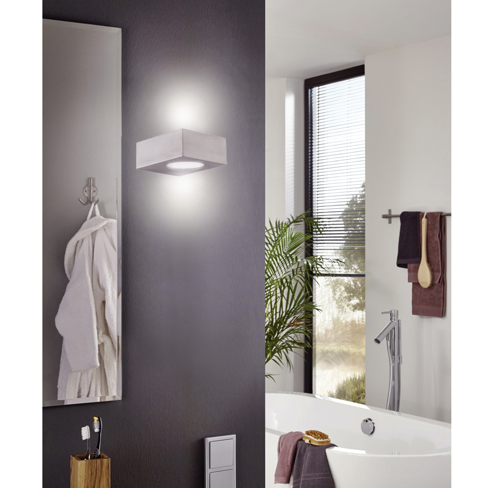 badleuchte wandleuchte led 5w edelstahl glas wand bad wandlampe up down ip44 ebay. Black Bedroom Furniture Sets. Home Design Ideas