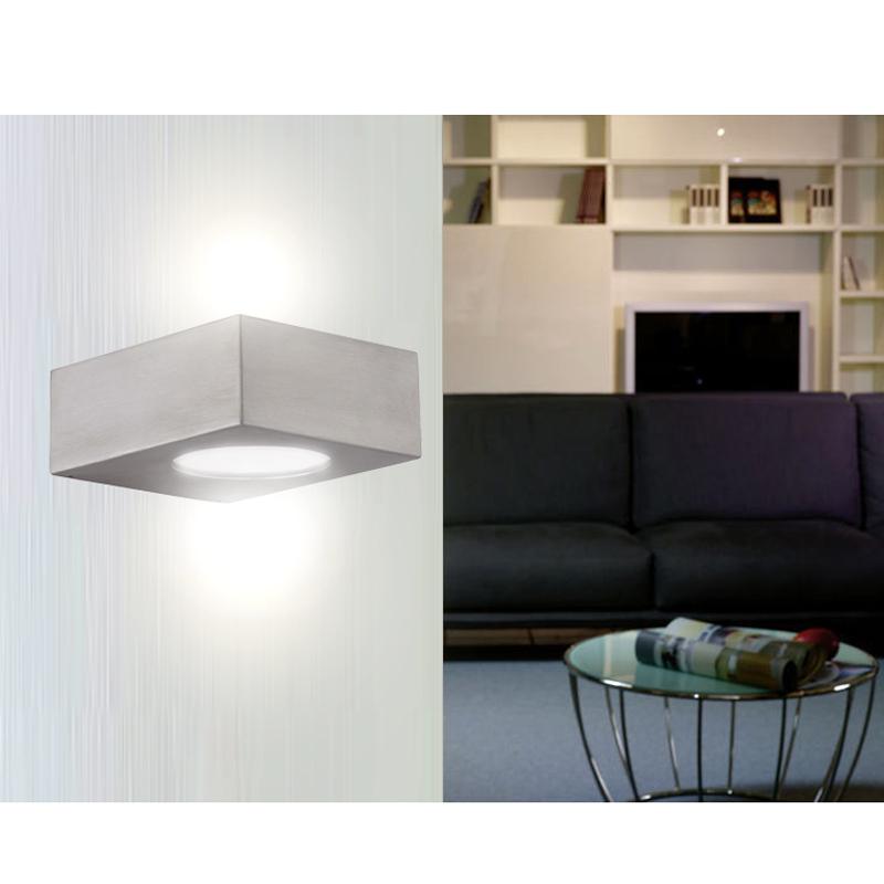 badleuchte wandleuchte led 5w edelstahl glas wand bad wandlampe up down ip44 ebay. Black Bedroom Furniture Sets. Home Design Ideas