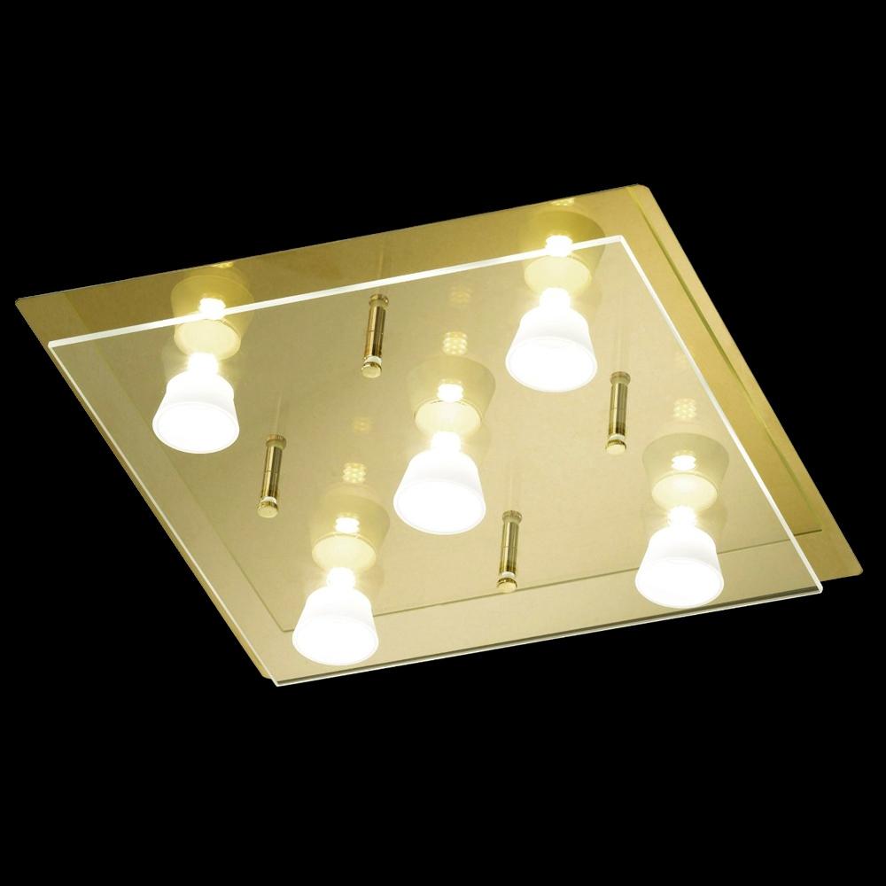 Wohnzimmerlampe Honsel 29705 LED Deckenleuchte Lennox messing 20 Watt