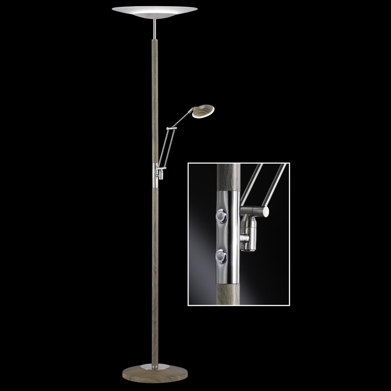 Led Deckenfluter 46060 Honsel Stehlampe Nickel Matt Holz Optik Lampe