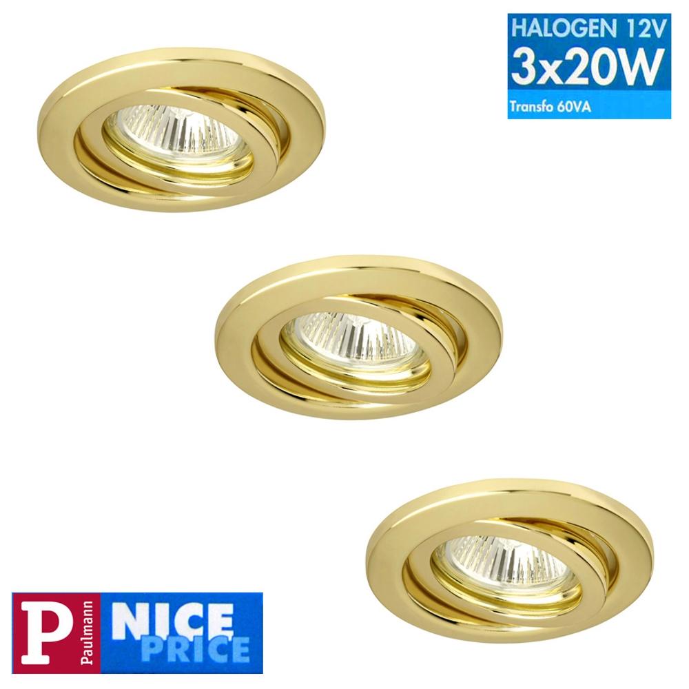 Einbauleuchten Einbaulampen EBL Paulmann NicePrice 3042 3x20W gold 12V