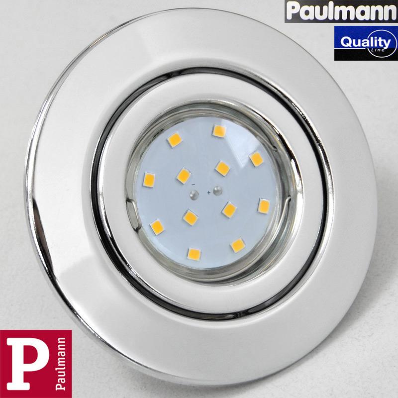 1x LED Einbauleuchte Chrom Paulmann Quality Line mit 3W GU10 LED