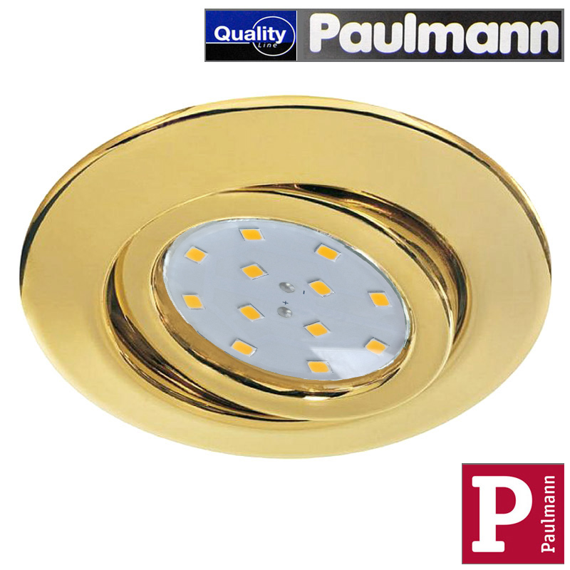 1x LED Einbauleuchte Messing Paulmann Quality Line mit 3W GU10 LED