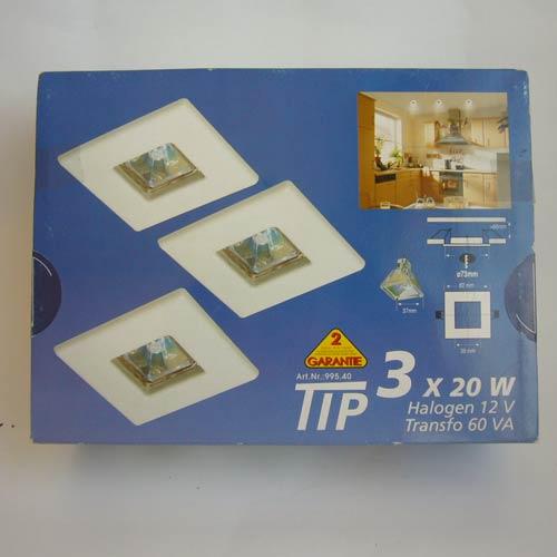 Paulmann TIP 99540 Einbauleuchten 3x20W weiß Quadro